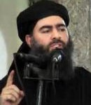 Al Baghdadi, the leader of Islamic State, preaching with finger raised in admonishment