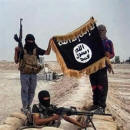 Three jihadis with gold trimmed flag